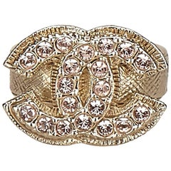 Chanel Gold Toned with Pink Rhinestone Studded Ring