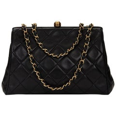 1990s Chanel Black Quilted Lambskin Vintage Timeless Frame Bag