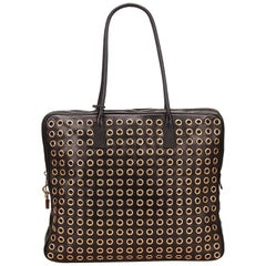 Prada Black Leather Gold Toned Eyelet Handbag
