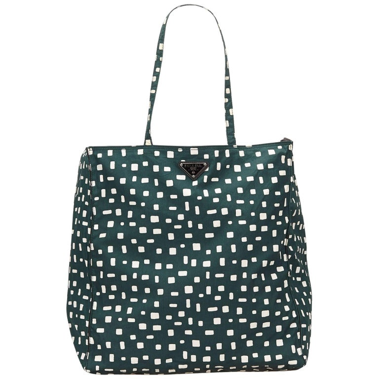 Prada Dark Green and White Pattern Nylon Tote Bag