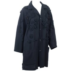 90's Yohji Yamamoto Black Coat with Amazing Embroidery size Large