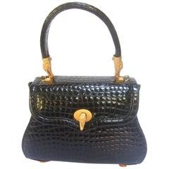Posh Ebony Embossed Gilt Alligator Emblem Handbag