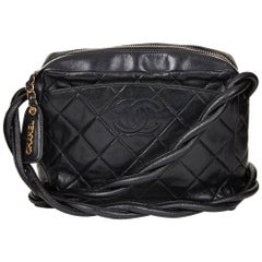 1990s Chanel Black Quilted Lambskin Vintage Camera Bag