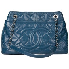 2010s Chanel Turquoise Quilted Caviar Leather Timeless Shoulder Bag
