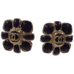 Chanel purple silver tone cc logo flower clip on earrings