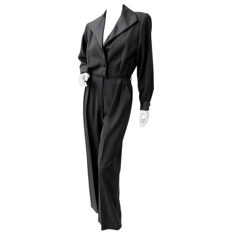 8fd6dd40e1e Yves Saint Laurent Black Tuxedo Jumpsuit Le Smoking YSL Rive Gauche 90s NOS  Sz40 For Sale