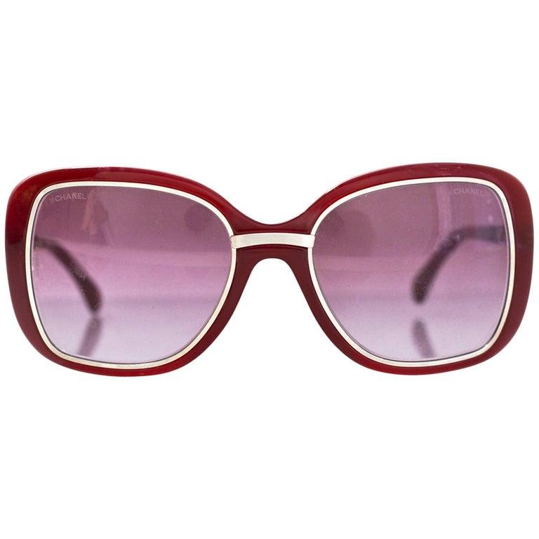 Chanel Burgundy & Silver Sunglasses