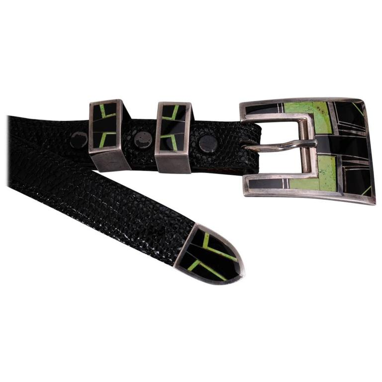 Turquoise and Onyx Inlaid Sterling Silver Buckle Set and Lizard Belt