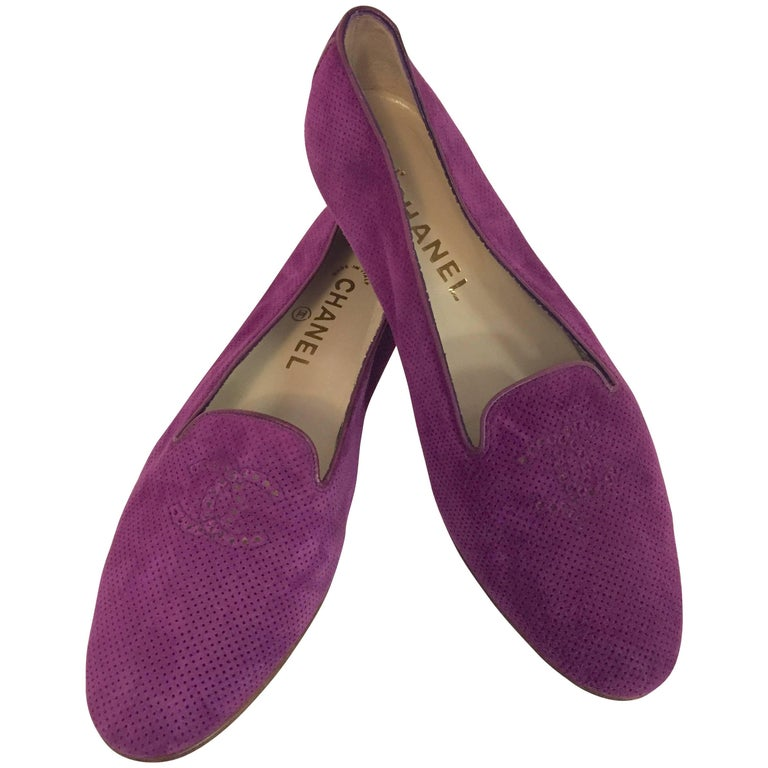 Compelling Chanel Violet Suede Loafers With Small CC on Top