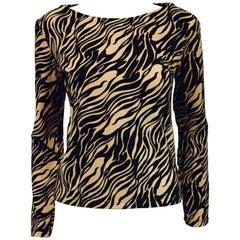 Vampy Versace Black & Beige Tiger Print Knit Top