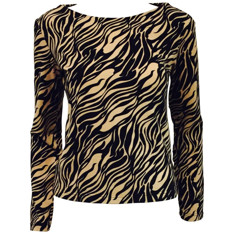 Vampy Versace Black & Beige Tiger Print Knit Top For Sale