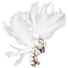 Lanvin Crystal & Feather Brooch NIB rt. $845