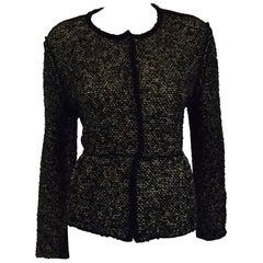 Very Valentino Wool Black & Grey Tweed Sweater Jacket With Black Trim