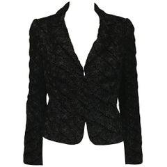 Quintessential Carmen Marc Valvo Black Velvet Jacket w/ Abstract Pattern