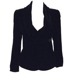 Accomplished Armani Collezioni  Black Velvet Jacket With Round Shawl Collar