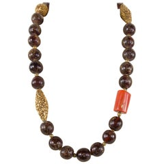 Fabulous Antique Tibetan Natural Amber Coral and Gold Beads Heirloom Necklace