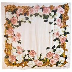 Chanel Blush Pink Sheer Chiffon Floral Scarf