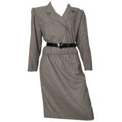 Ungaro 1980s Black & White Check Pattern Skirt Suit Size 10.
