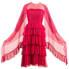 Chanel Haute Couture silk fuchsia pleated evening dress, Spring-Summer 1973
