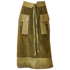 Gucci Suede and Leather Skirt 1970's