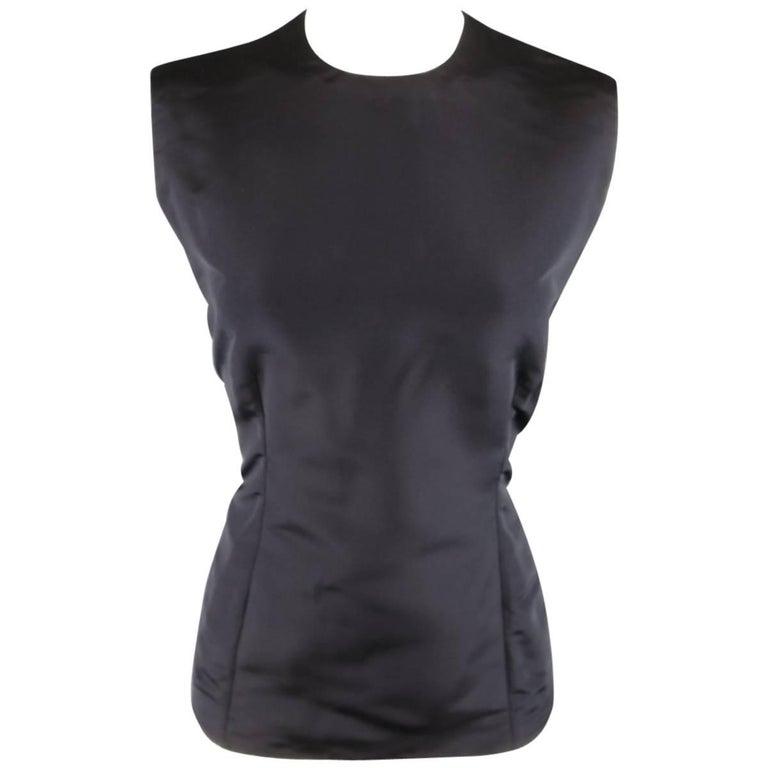 Vintage 1980s GIANNI VERSACE Size 6 Black Silk Tafeta Sleeveless Shell Blouse