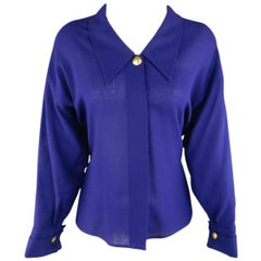 1980s GIANNI VERSACE 6 Purple Large Collar French Cuff Gold Symbol Button Blouse