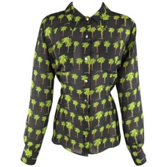 VERSACE JEANS COUTURE Size M Black & Green Palm Tree Snake Print Blouse