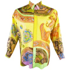 Vintage 1990s GIANNI VERSACE Size L Yellow Multi-Color Zodiac Print Silk Blouse