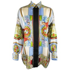 1990s GIANNI VERSACE Size L Light Blue Baroque Angel Print Silk Blouse