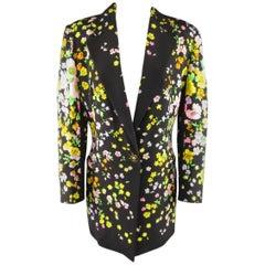1990s GIANNI VERSACE Size 10 Black Floral Print Silk Medusa Button Blazer