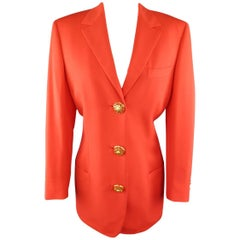 1990s GIANNI VERSACE Couture Size 8 Orange 3 Gold Medusa Button Blazer
