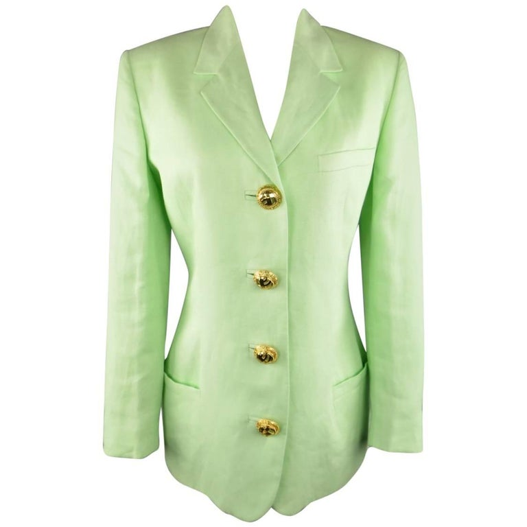 1990s GIANNI VERSACE Size 8 Mint Green Gold Statement Button Blazer Jacket