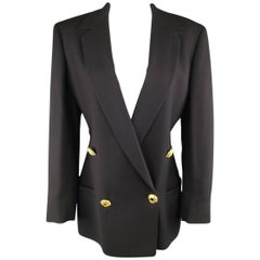1990s GIANNI VERSACE Size 10 Black Double Breasted Gold Statement Button Blazer