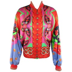 1980s GIANNI VERSACE 1980s Size L Red Scarf Print Cotton Bomber Jacket