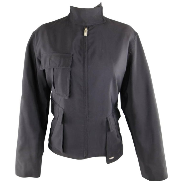 1990s GIANNI VERSACE Size 8 Black Cotton / Rayon High Collar Military Jacket
