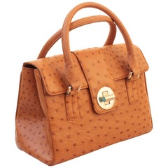 Chic Tiffany & Company Manhattan Satchel Bag Exotic Tan Ostrich Tote