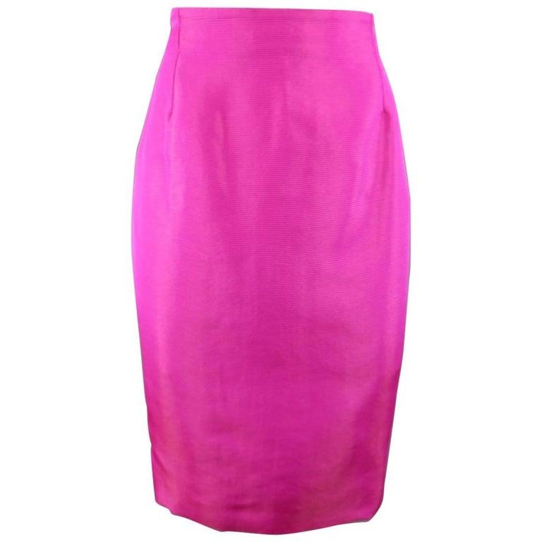 GIANNI VERSACE 1980s Size 10 Metallic Fuchsia Stripe Pencil Skirt