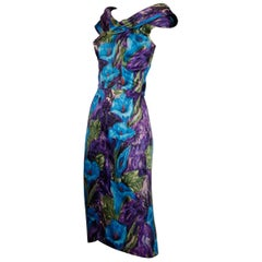 1960s Vintage Blue Watercolor Floral Print Silk Cocktail Sheath Dress