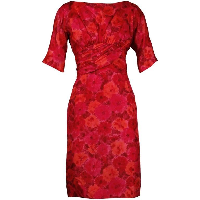 1960s Gigi Young Vintage Pink + Red Floral Print Silk Cocktail Sheath Dress
