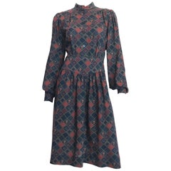 1970s Givenchy Button Front Diamond Floral Print Wool Dress with Nehru Collar