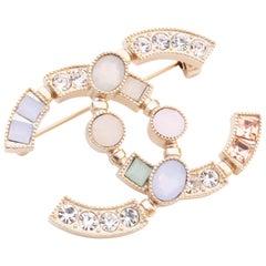 Chanel CC Logo Brooch Diamanté Goldtone Crystals
