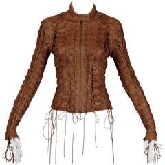Faycal Amor for Plein Sud Brown Leather Lace Up Grommet Moto Jacket