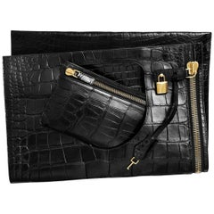 Tom Ford Black Alligator Lock Fold Evening Tote Clutch Flap Bag with Accessories