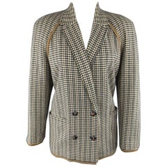 GIANNI VERSACE 1980s Size 8 Beige Houndstooth Cashmere Double Breasted Jacket