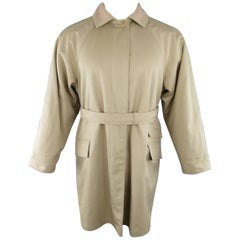 1990s GIANNI VERSACE Size L Khaki Twill Fleece Lining Belted Coat