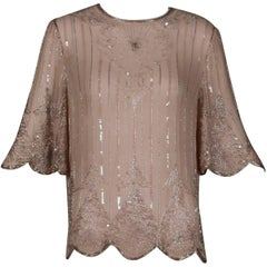 Vintage Pale Pink Silk Beaded + Sequin Flapper Dress Top or Shirt