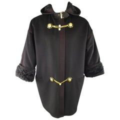 GIANNI VERSACE Size 6 Black Wool Hooded Gold Medusa Toggle Fur Cuff Coat