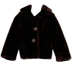 Stunning 1960s Vintage Genuine Brown Mouton Fur Heavy + Warm Sheepskin Jacket