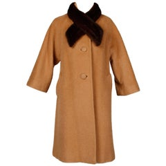 1960s Lilli Ann Vintage Camel Wool Coat with Mink Fur Colla