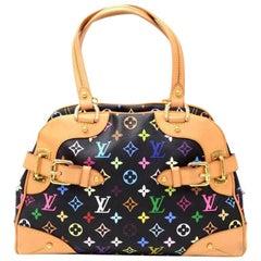Louis Vuitton Claudia Black Multicolor Monogram Canvas Hand Bag